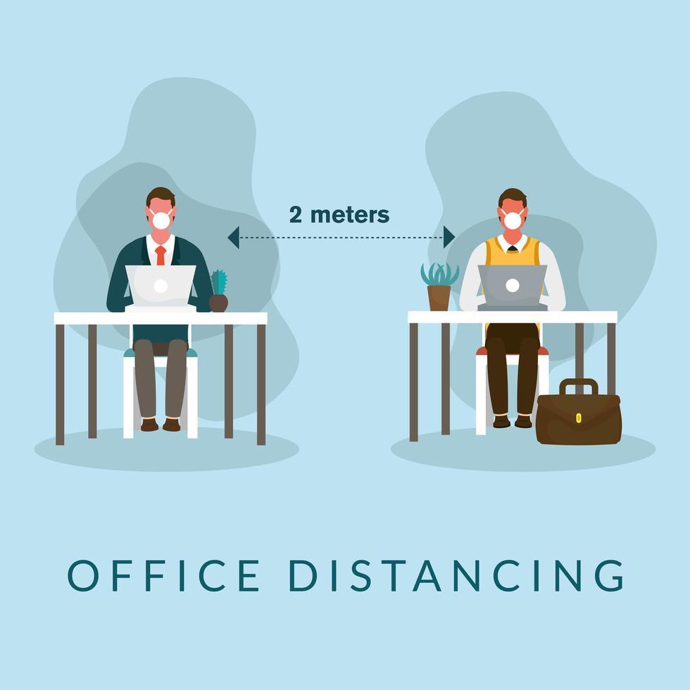 bureau à distance entre les hommes avec des masques sur la conception de vecteur de bureau