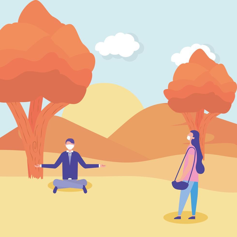 femme et homme avec masque médical à la conception de vecteur de parc