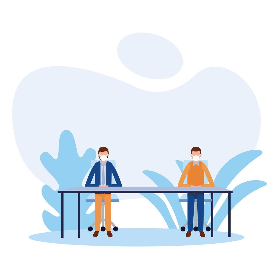 bureau à distance entre hommes avec des masques sur la conception de vecteur de table