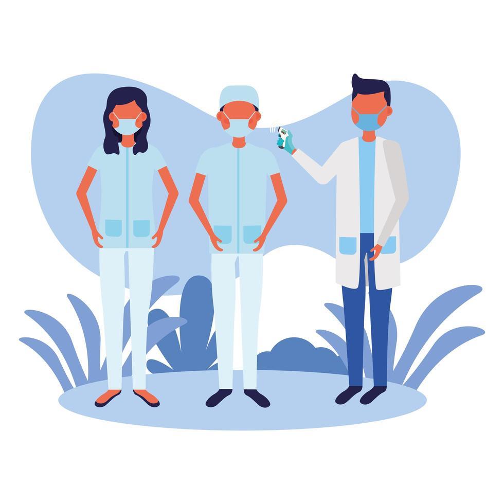 docteur masculin, tenue, thermomètre, pistolet, vérification, gens, température, vecteur, conception vecteur