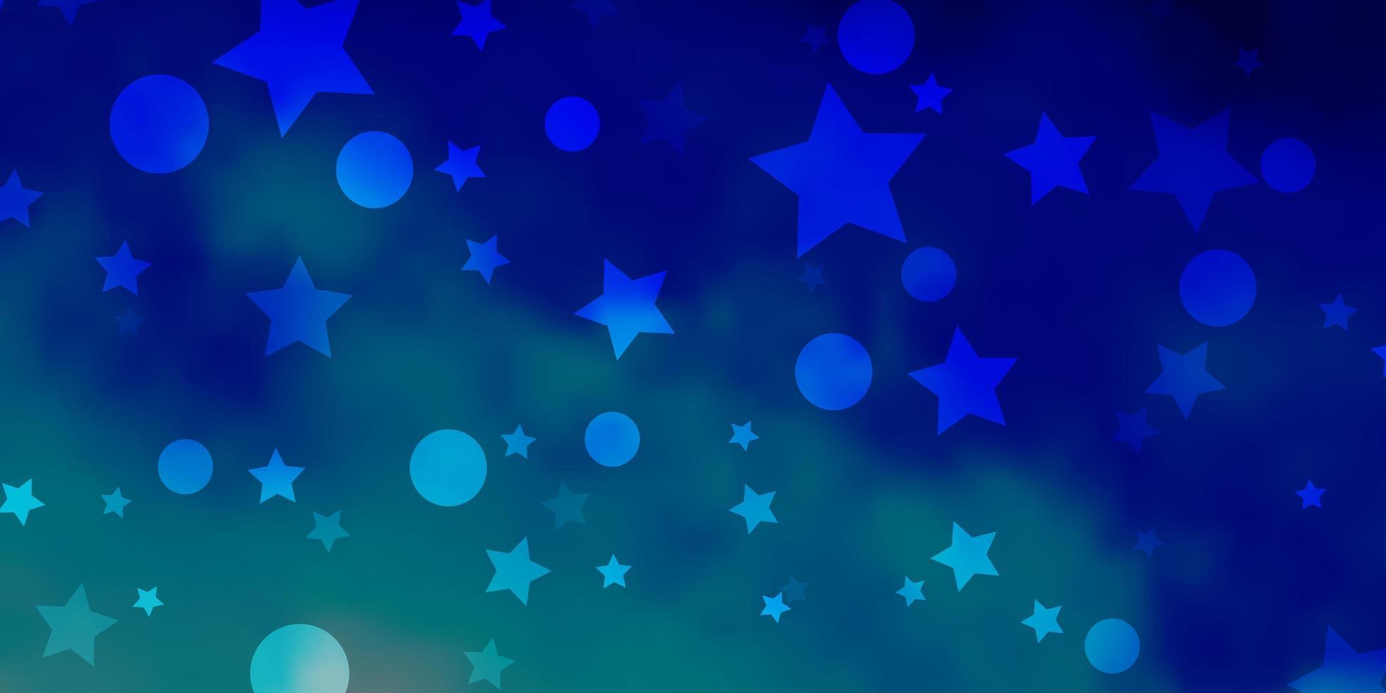 toile de fond de vecteur bleu clair avec des cercles, des étoiles.