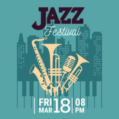 Affiche pour le festival de jazz avec saxophone, instruments à vent et un microphone vecteur