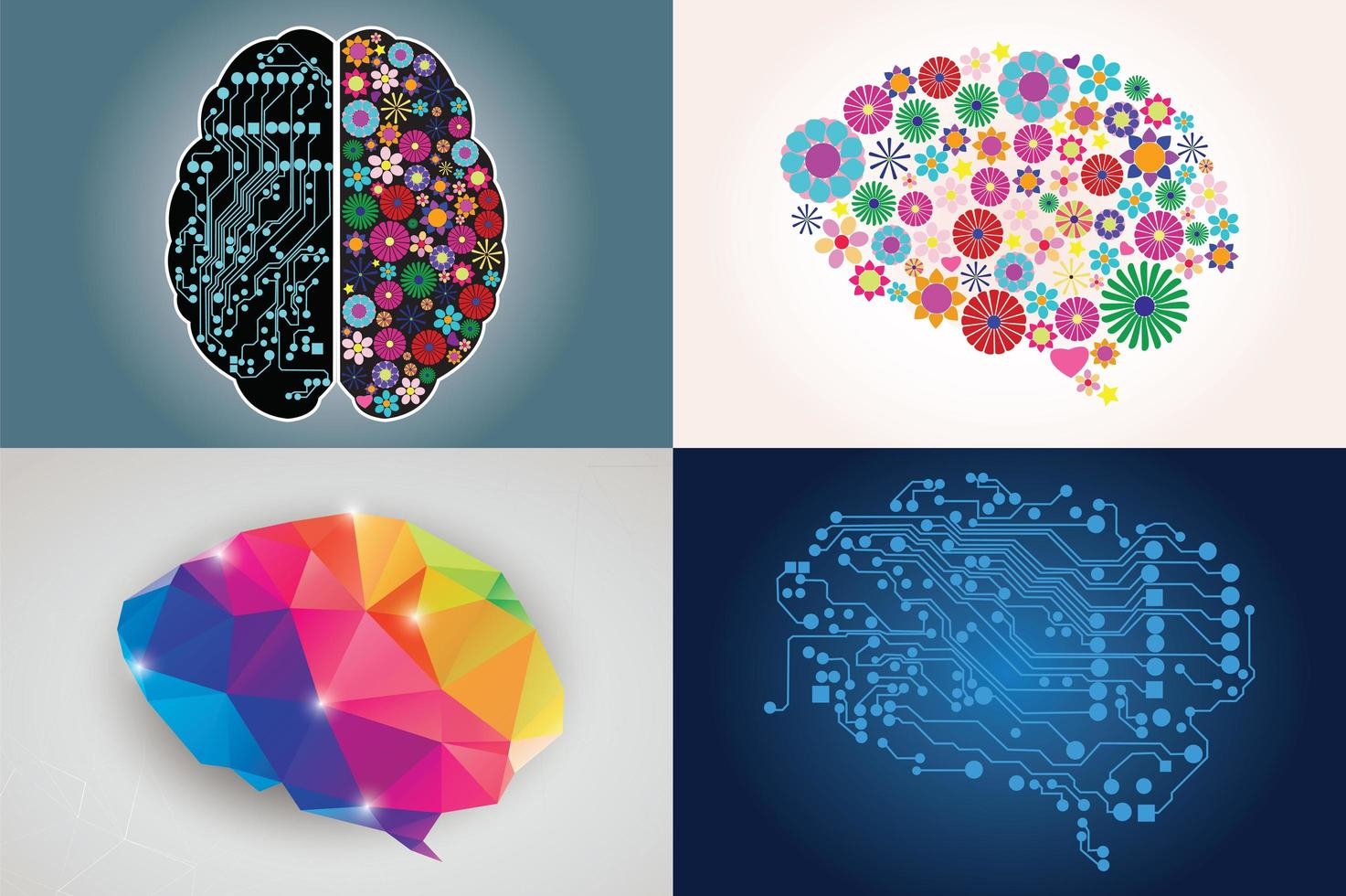 collections de quatre cerveaux humains différents, côté gauche et droit, créativité et logique vecteur