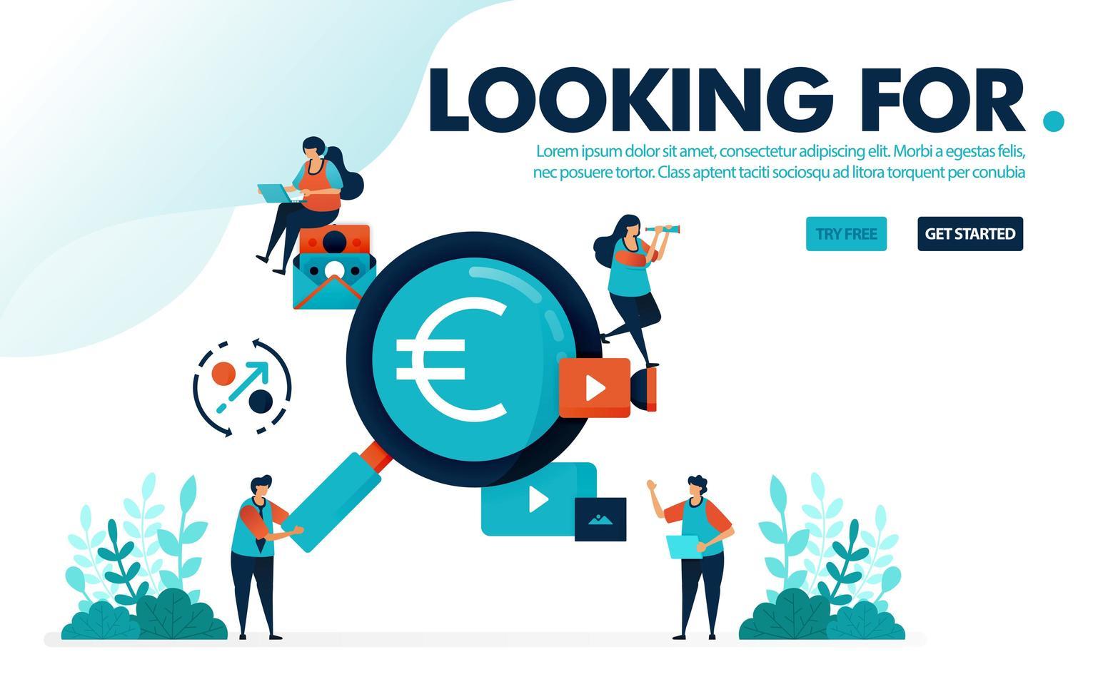 illustration vectorielle à la recherche d'emplois. les personnes à la recherche d'emplois bien rémunérés. trouver des bénéfices dans les affaires, l'argent et l'investissement. Conçu pour la page de destination, le web, la bannière, le modèle, l'arrière-plan, le dépliant, l'affiche vecteur