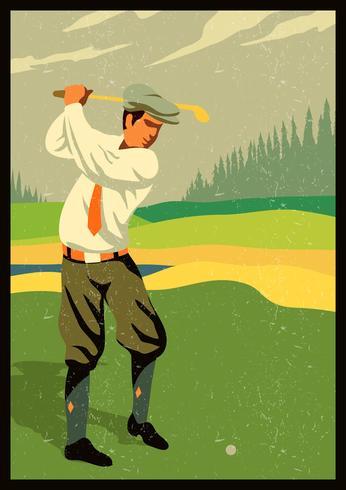 golf vintage rétro vecteur