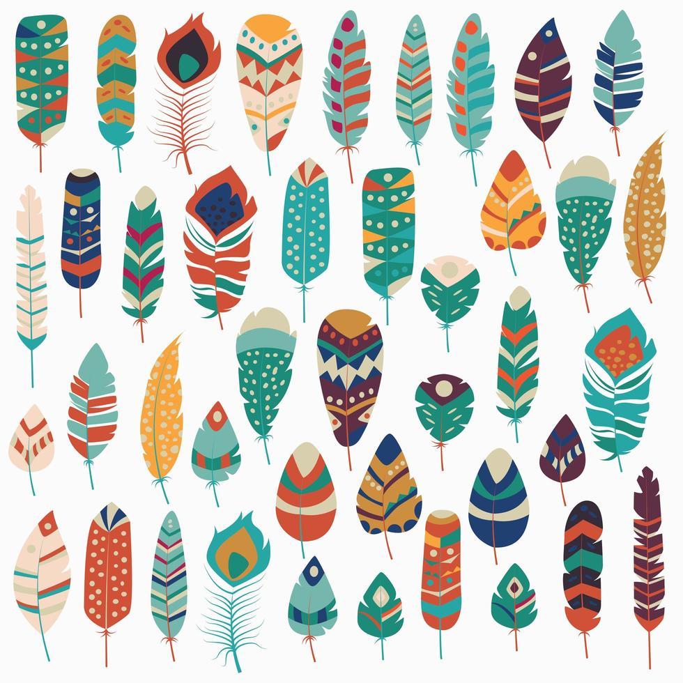 collection de plumes colorées dessinées à la main ethnique tribal vintage boho vecteur