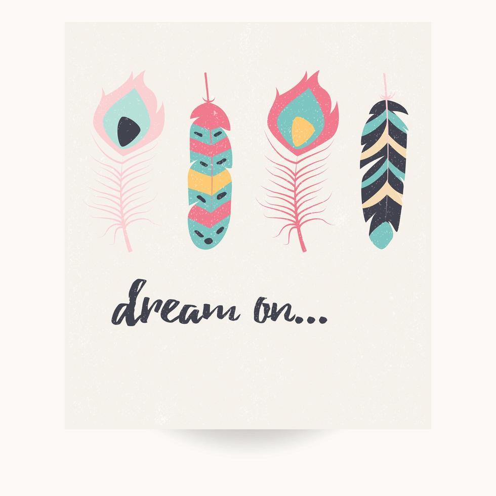 conception de carte postale avec citation inspirante et plumes colorées bohème vecteur