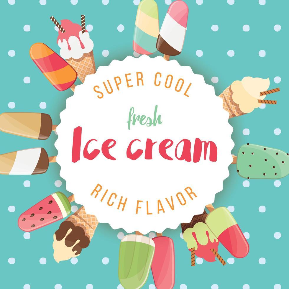 conception d'affiche avec de la glace brillante colorée vecteur