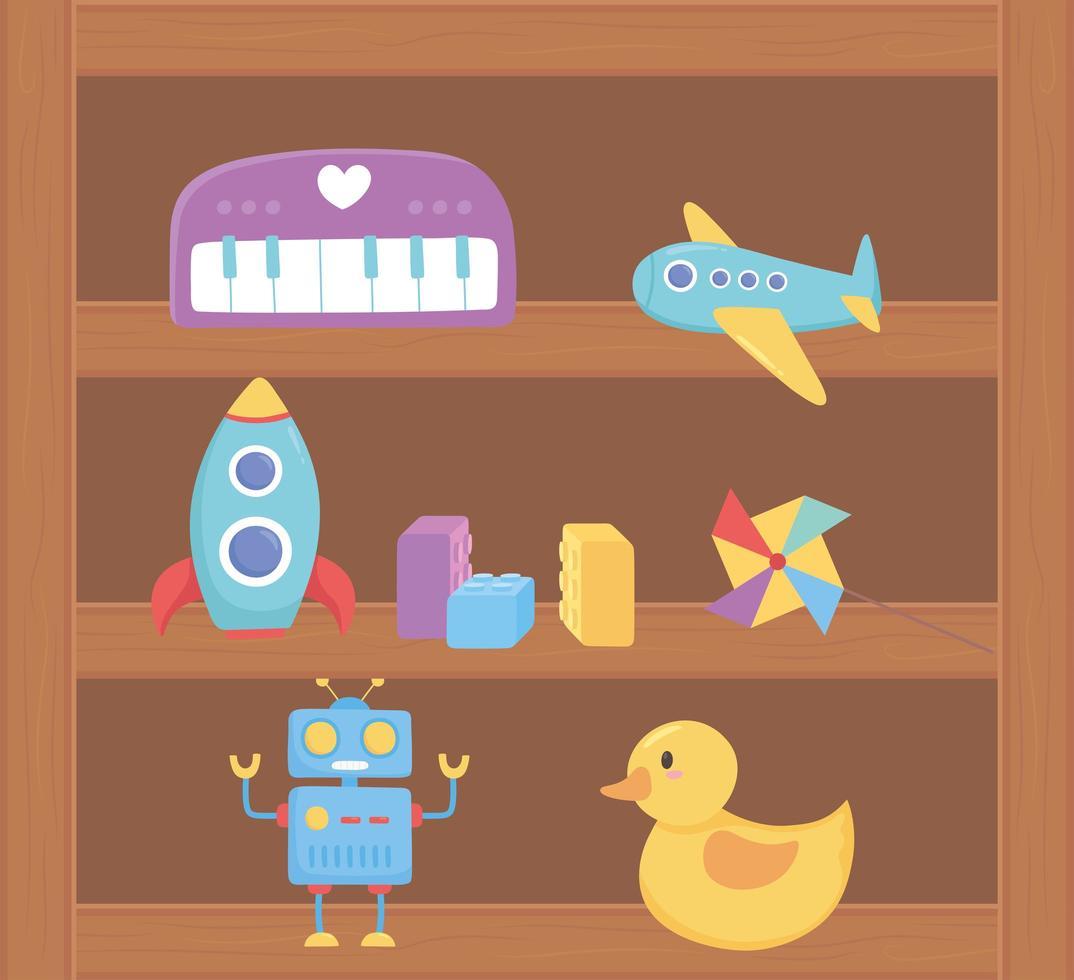Objet de jouets fusée robot canard avion pour les petits enfants à jouer au dessin animé sur une étagère en bois vecteur