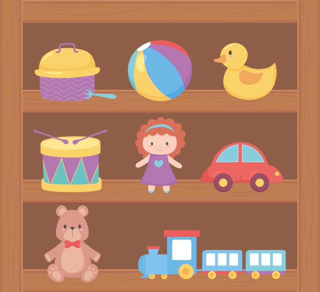 objet de jouets pour les petits enfants à jouer au dessin animé sur étagère en bois vecteur