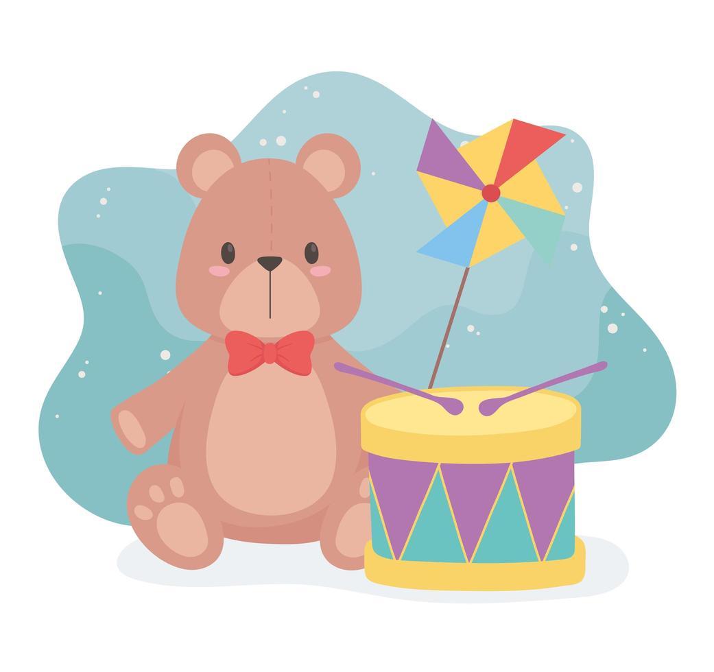 objet de jouets pour les petits enfants à jouer au tambour et au moulinet de nounours de dessin animé vecteur