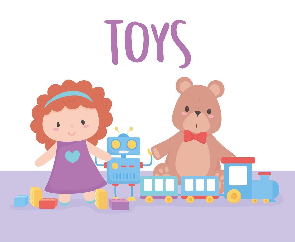 objet de jouets pour que les petits enfants jouent au train et au robot de poupée de dessin animé vecteur