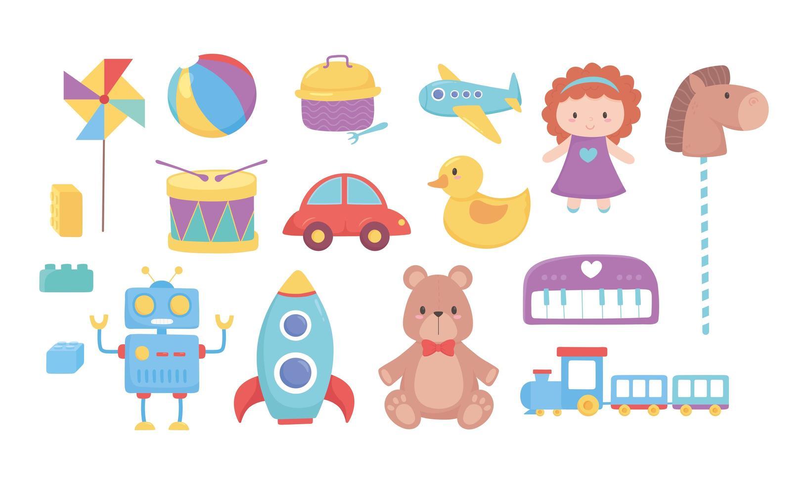 enfants jouets ours poupée cheval voiture train tambour robot fusée balle avion icônes dessin animé vecteur