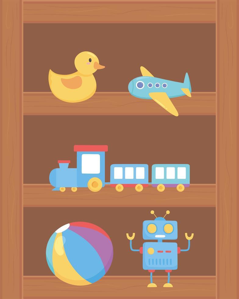 Canard avion train balle robot jouets objet pour les petits enfants à jouer au dessin animé sur une étagère en bois vecteur