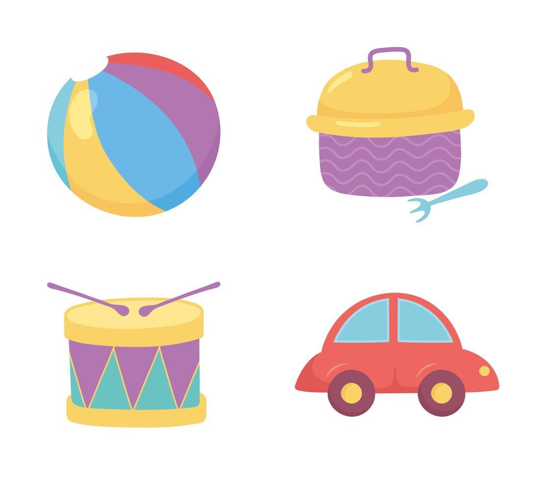 objet de jouets pour que les petits enfants jouent au tambour de voiture de boule de dessin animé et à la boîte à lunch vecteur