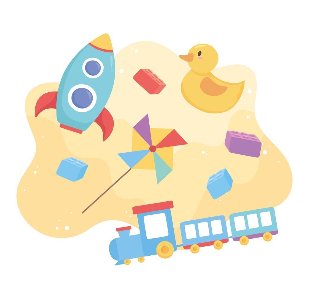 Objet de jouets pour les petits enfants à jouer au moulin à vent et au train de canard de dessin animé vecteur