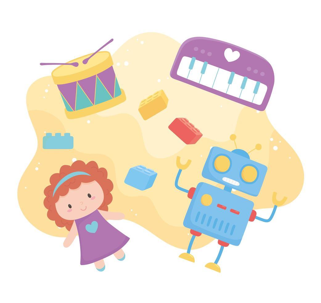 objet de jouets pour les petits enfants à jouer des blocs de piano à tambour de robot de poupée de dessin animé vecteur