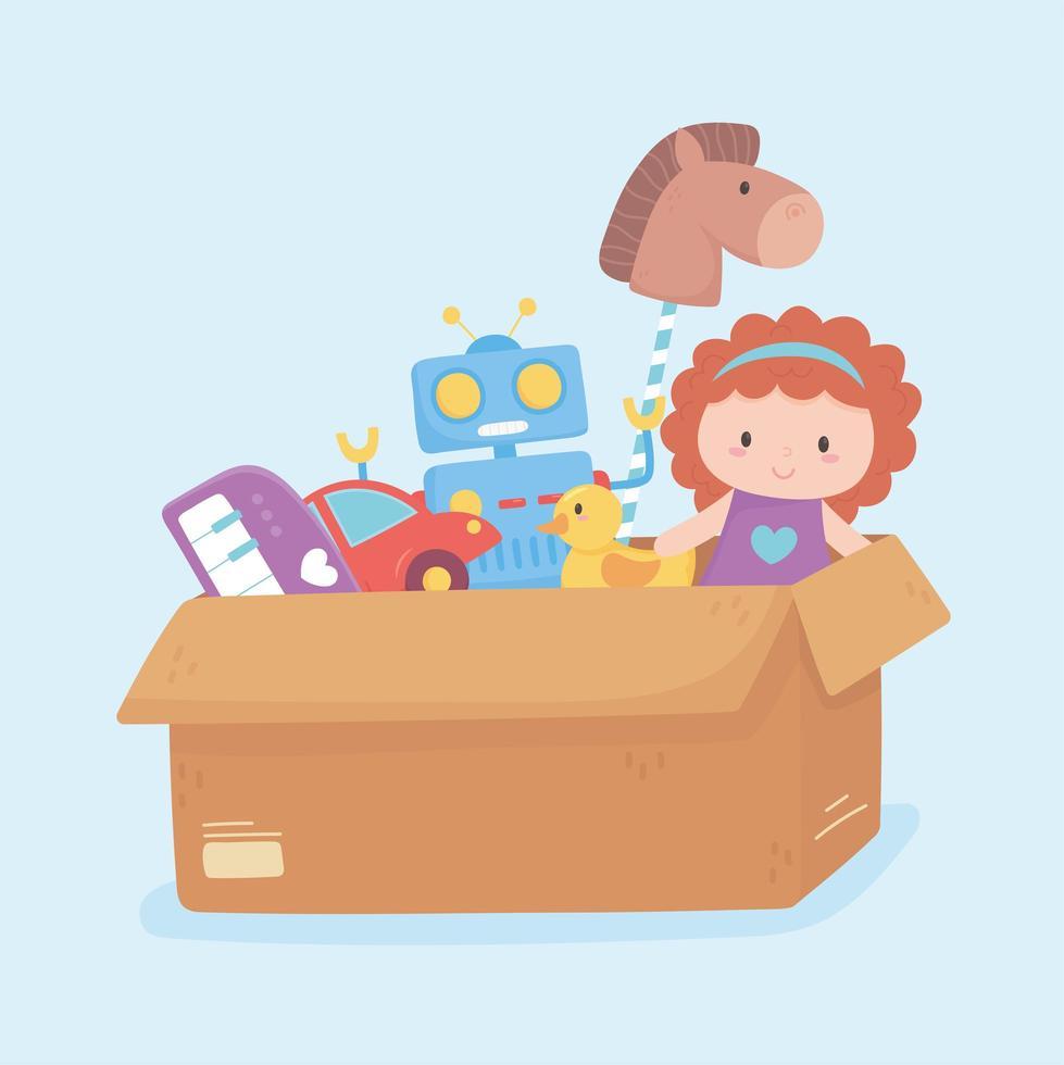 Objet de jouets de canard de voiture de robot de poupée pour les petits enfants à jouer au dessin animé dans une boîte en carton vecteur