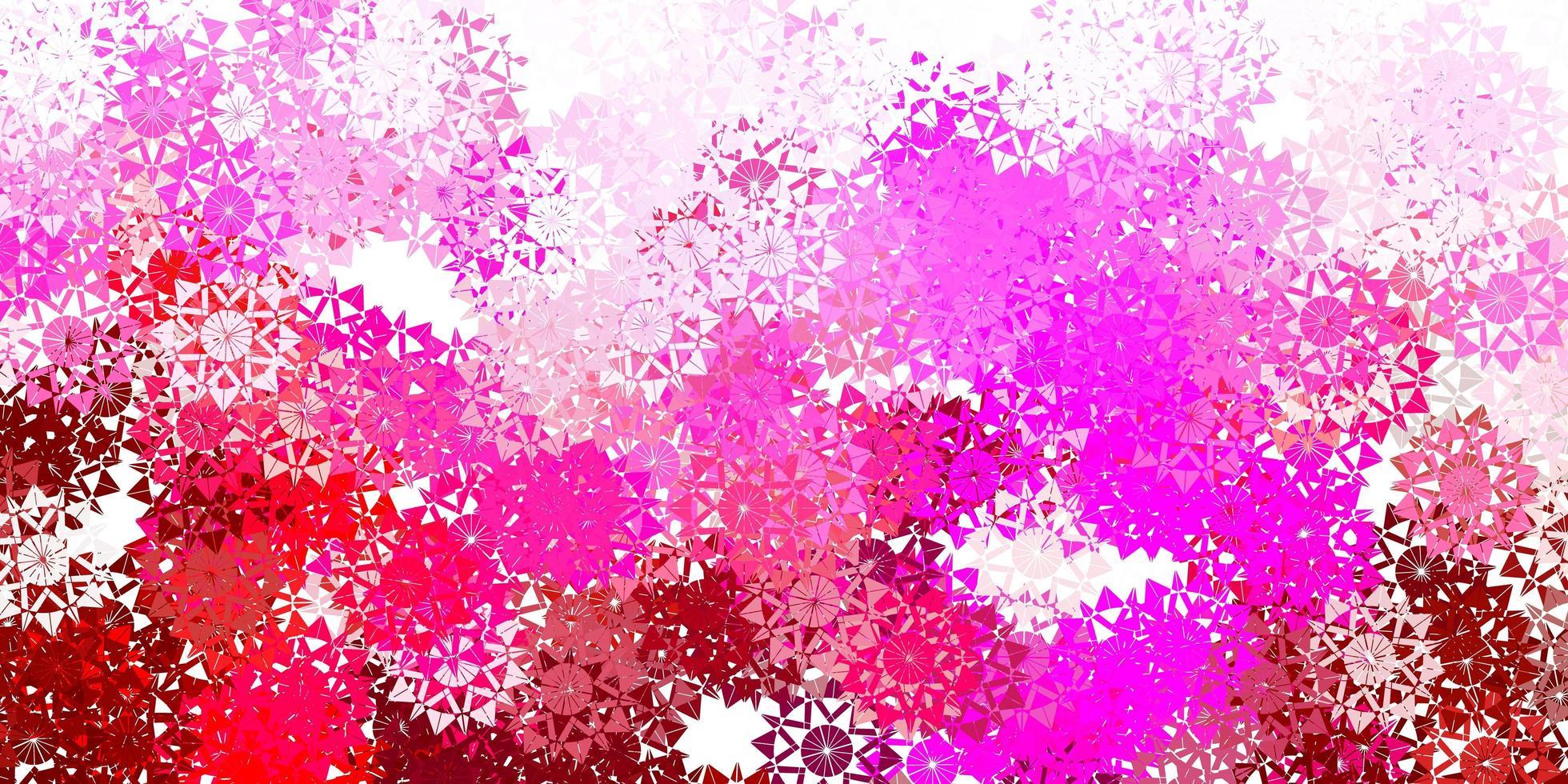 texture vecteur rose clair avec des flocons de neige brillants.