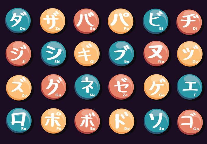 Pack de lettres japonaises vecteur