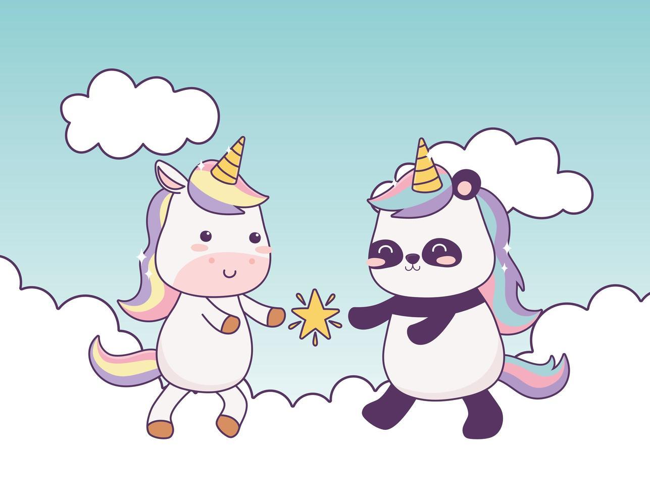 Licorne Kawaii Et Panda Avec Etoile Dans Les Nuages Personnage De Dessin Anime Fantaisie Magique Telecharger Vectoriel Gratuit Clipart Graphique Vecteur Dessins Et Pictogramme Gratuit