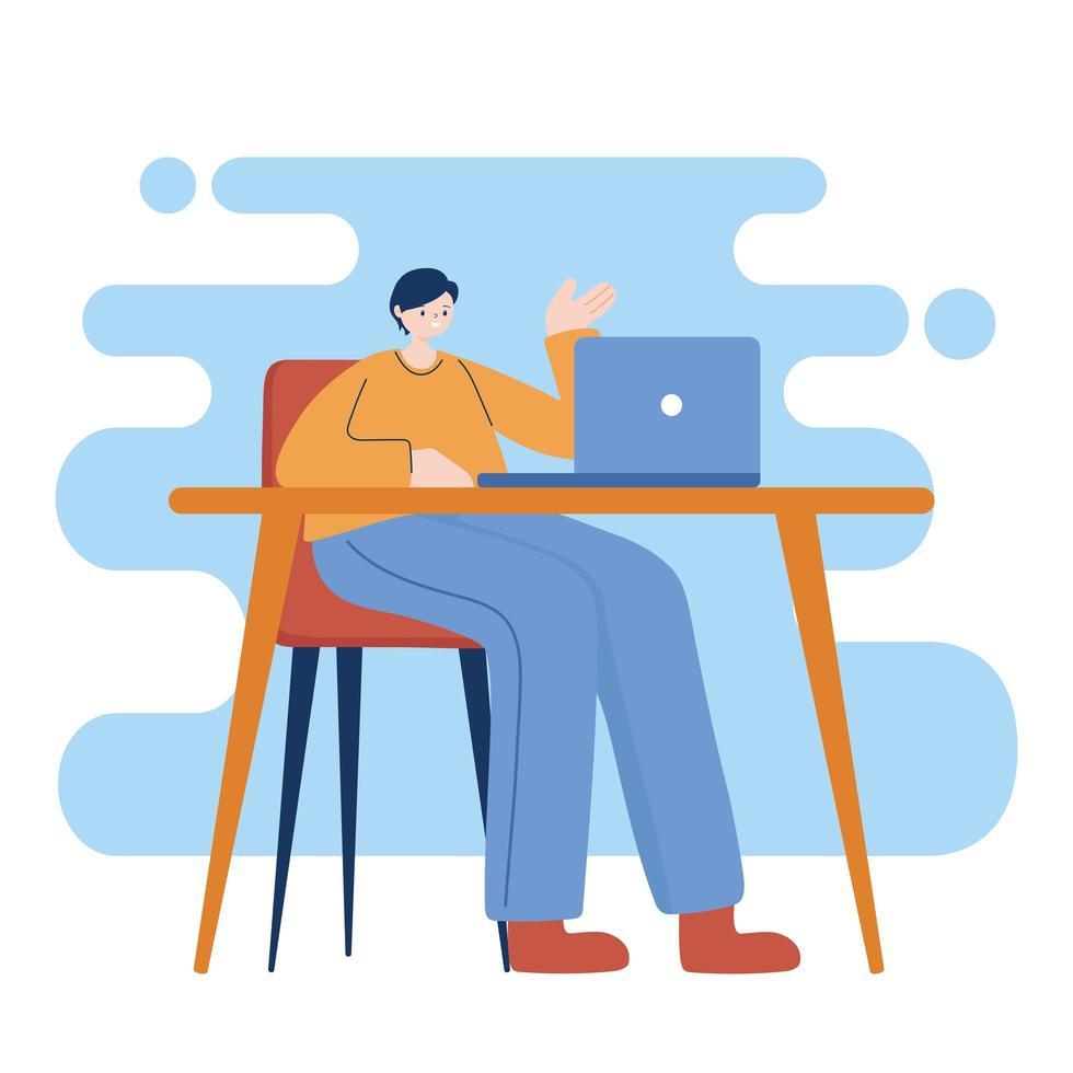 homme avec ordinateur portable sur la conception de vecteur de bureau