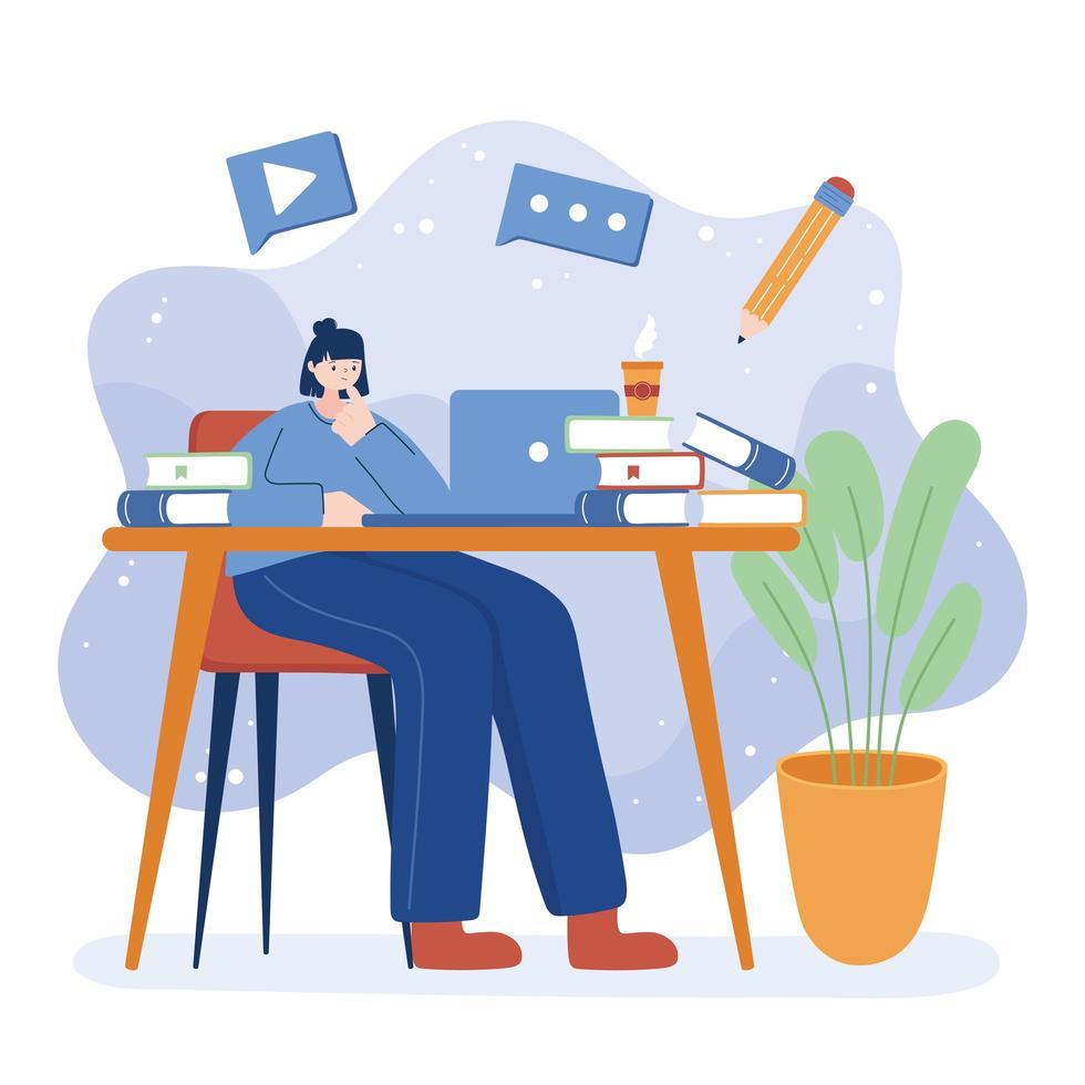 femme avec ordinateur portable et livres sur la conception de vecteur de bureau