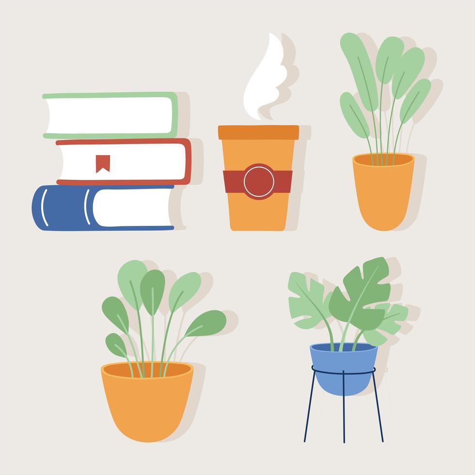 livres tasse à café et plats pots vector design