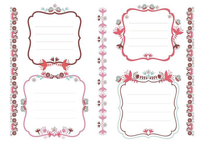 Ensemble vectoriel de balises et bordures florales
