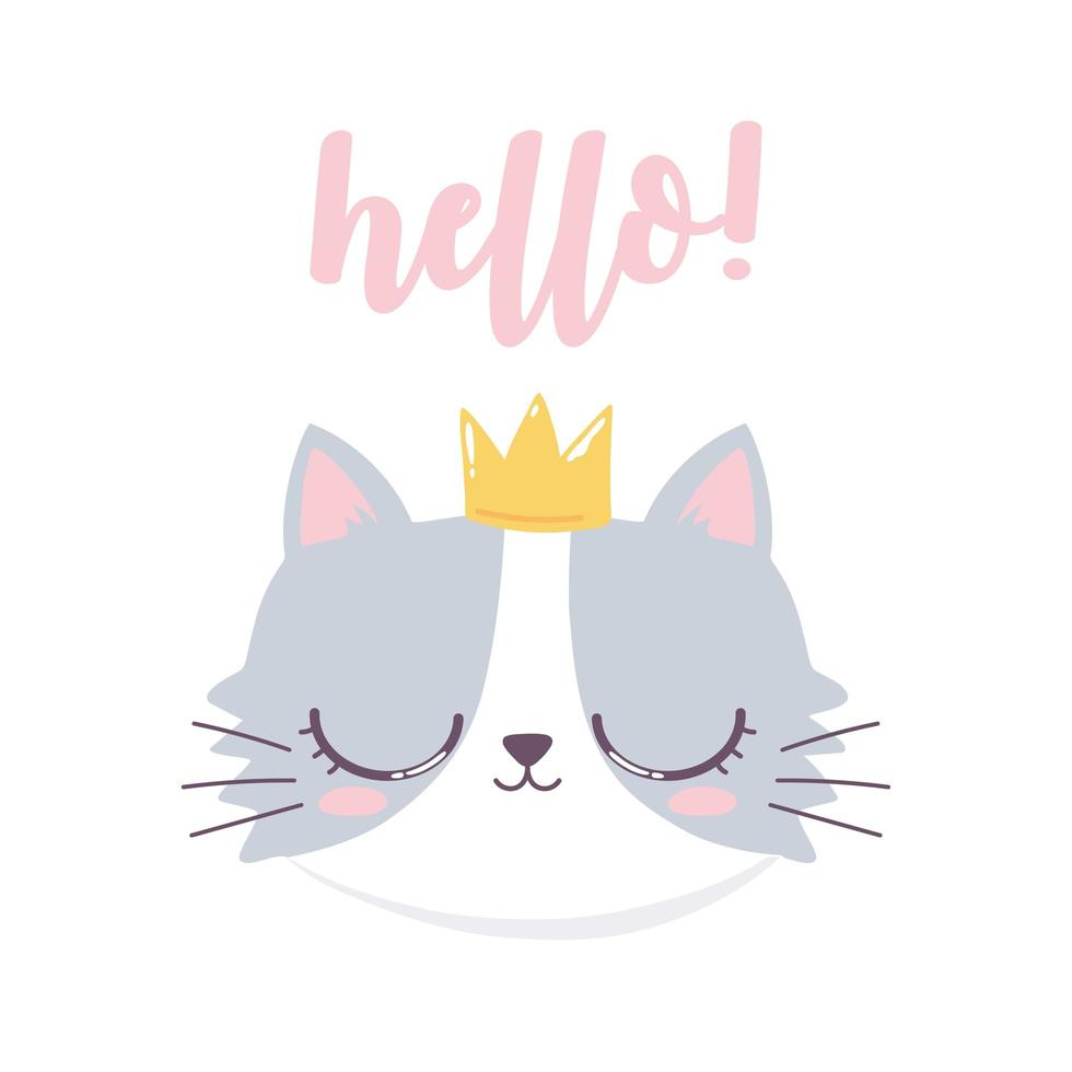 Bonjour Visage De Chat Avec Personnage Drole De Dessin Anime De Couronne Telecharger Vectoriel Gratuit Clipart Graphique Vecteur Dessins Et Pictogramme Gratuit