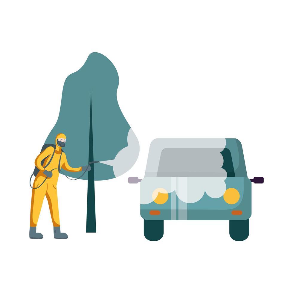 homme avec combinaison de protection pulvérisant la conception de vecteur voiture et arbre
