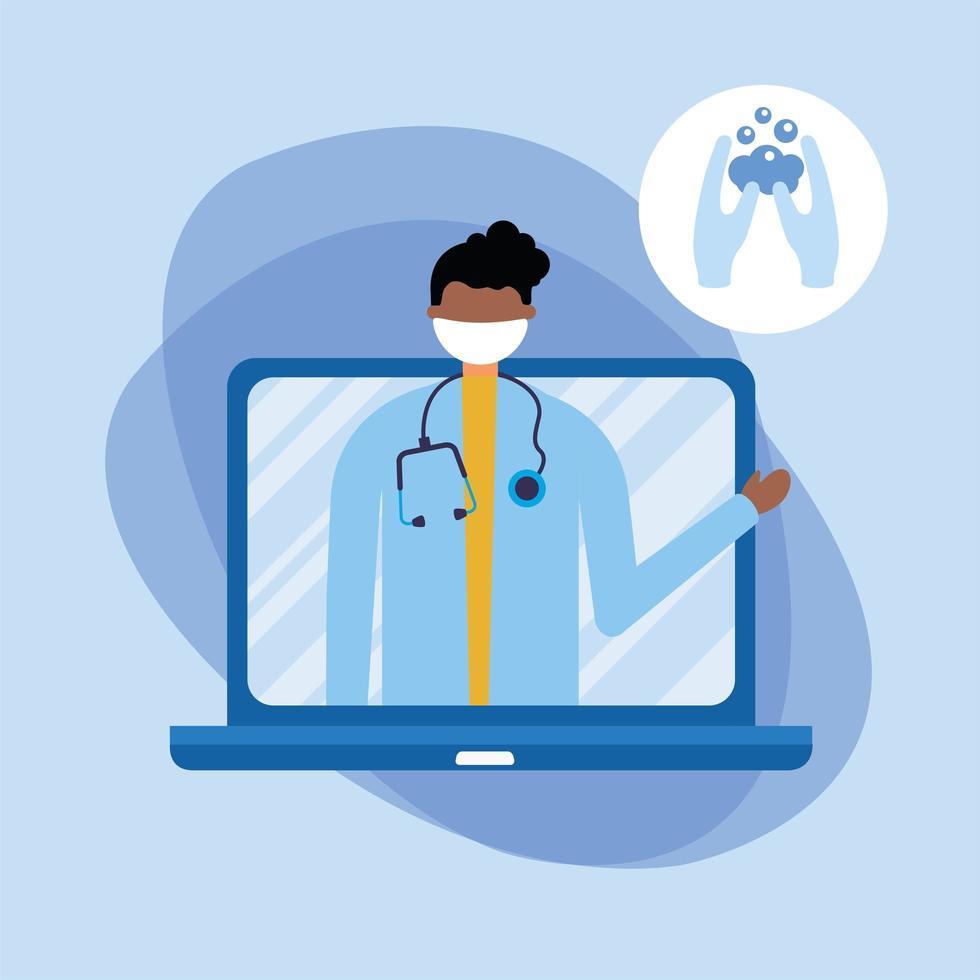 Médecin de sexe masculin en ligne avec masque sur ordinateur portable et lavage des mains vector design
