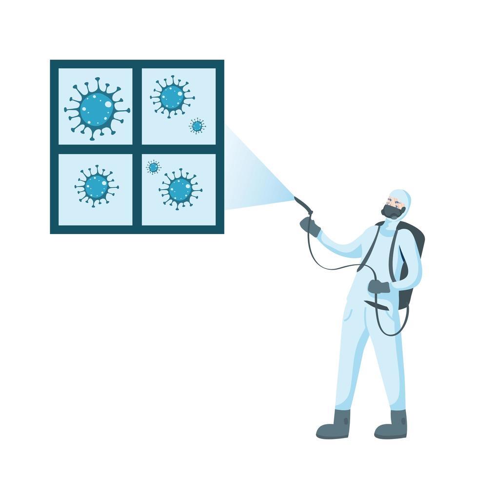 Homme avec fenêtre de pulvérisation de combinaison de protection avec dessin vectoriel covid 19
