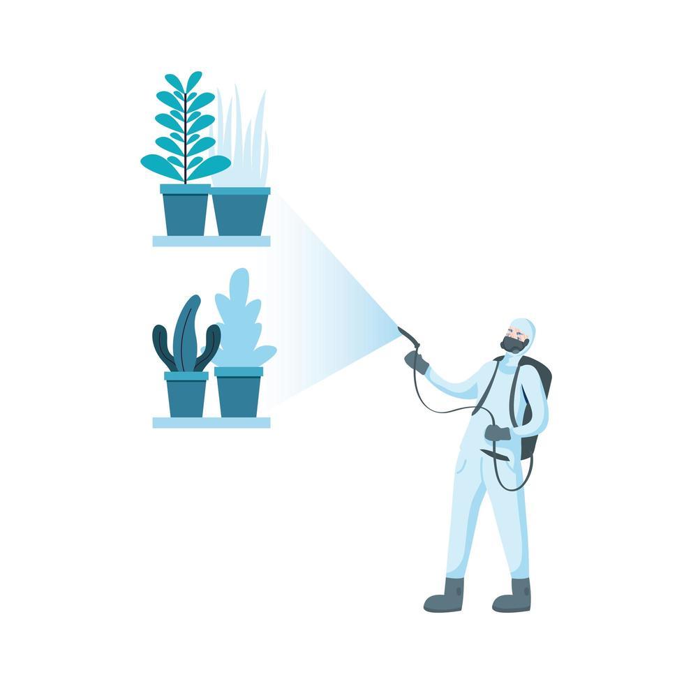 homme avec combinaison de protection, pulvérisation de plantes vector design
