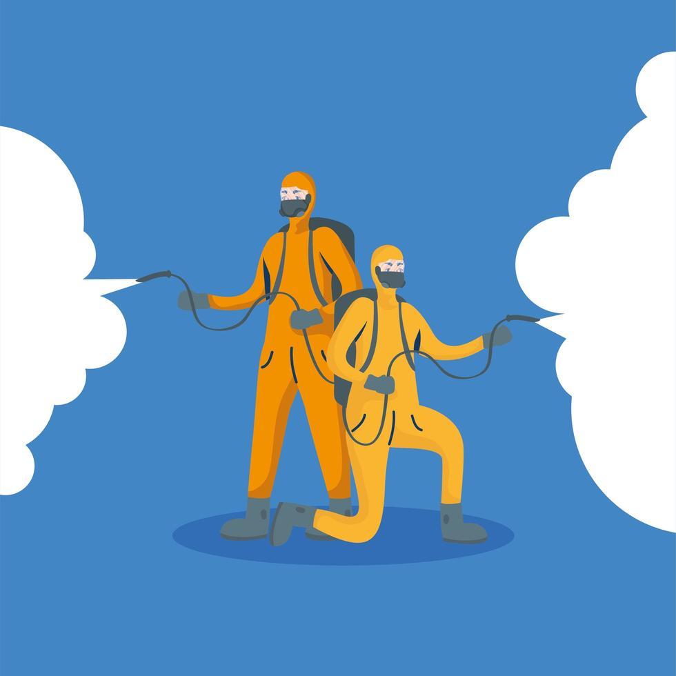 hommes avec combinaison de protection dessin vectoriel de pulvérisation
