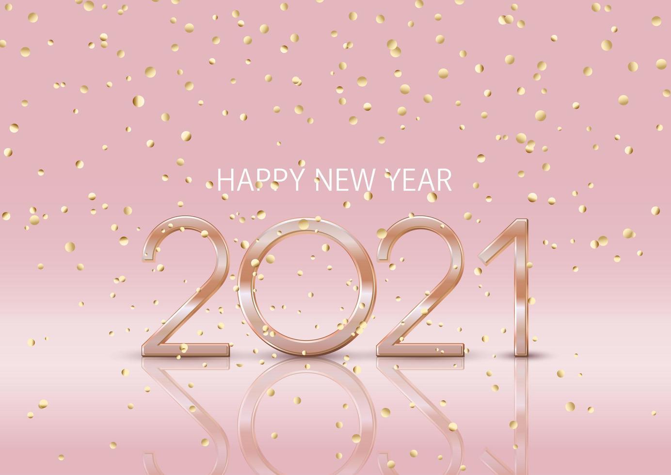 joyeux nouvel an avec des confettis d'or vecteur