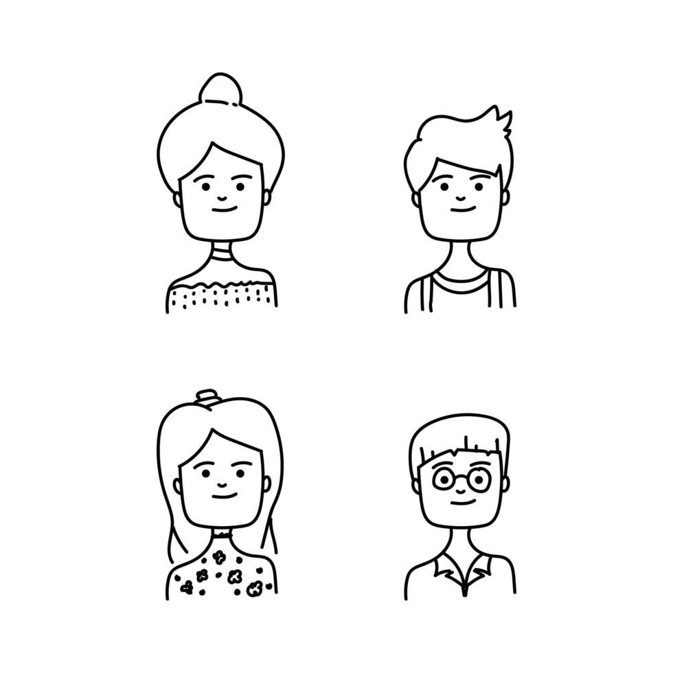 Avatar de personnes de dessin animé en ligne pour personnage ou livre d'animation vecteur