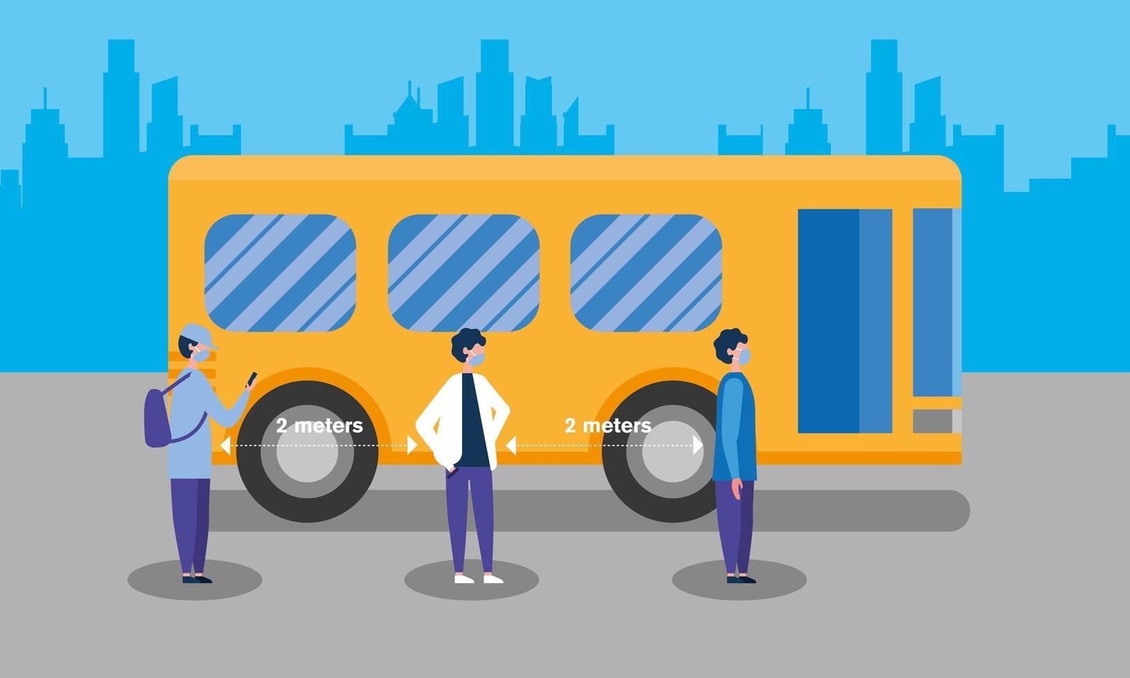 distance sociale entre les garçons avec des masques et la conception de vecteur de bus