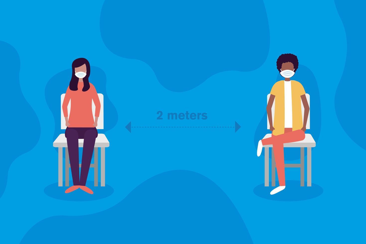 distance sociale entre garçon et fille avec des masques sur la conception de vecteur de chaises