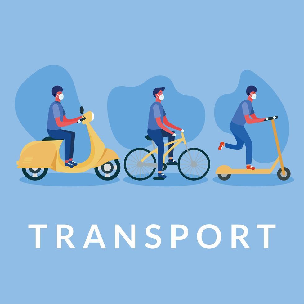 hommes avec des masques sur le vélo scooter et la conception de vecteur de moto