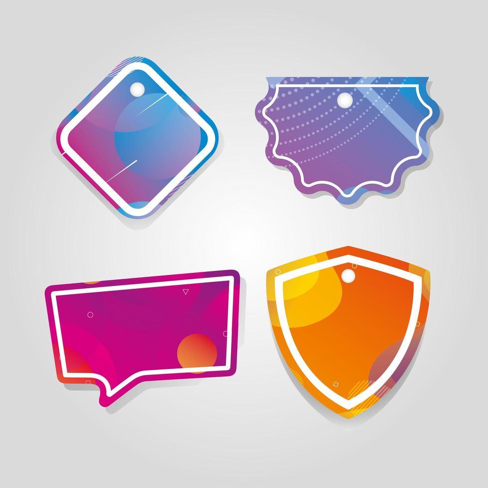 étiquettes commerciales suspendues avec des couleurs vives vecteur