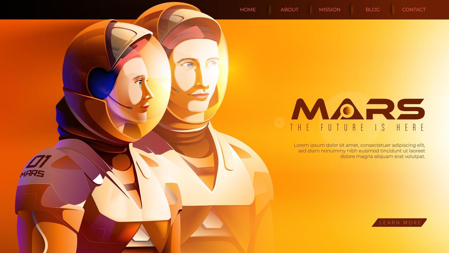 astronautes debout ensemble et prêts pour la plus grande mission sur mars vecteur