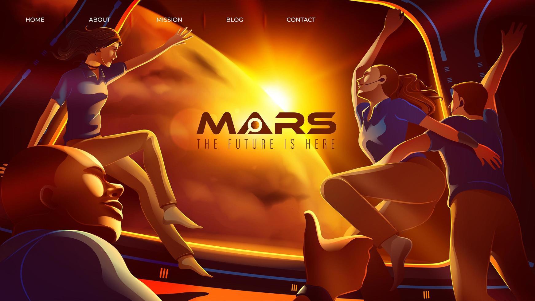 quatre astronautes de l'espace félicitent ensemble à l'intérieur du vaisseau spatial pour leur arrivée sur mars vecteur