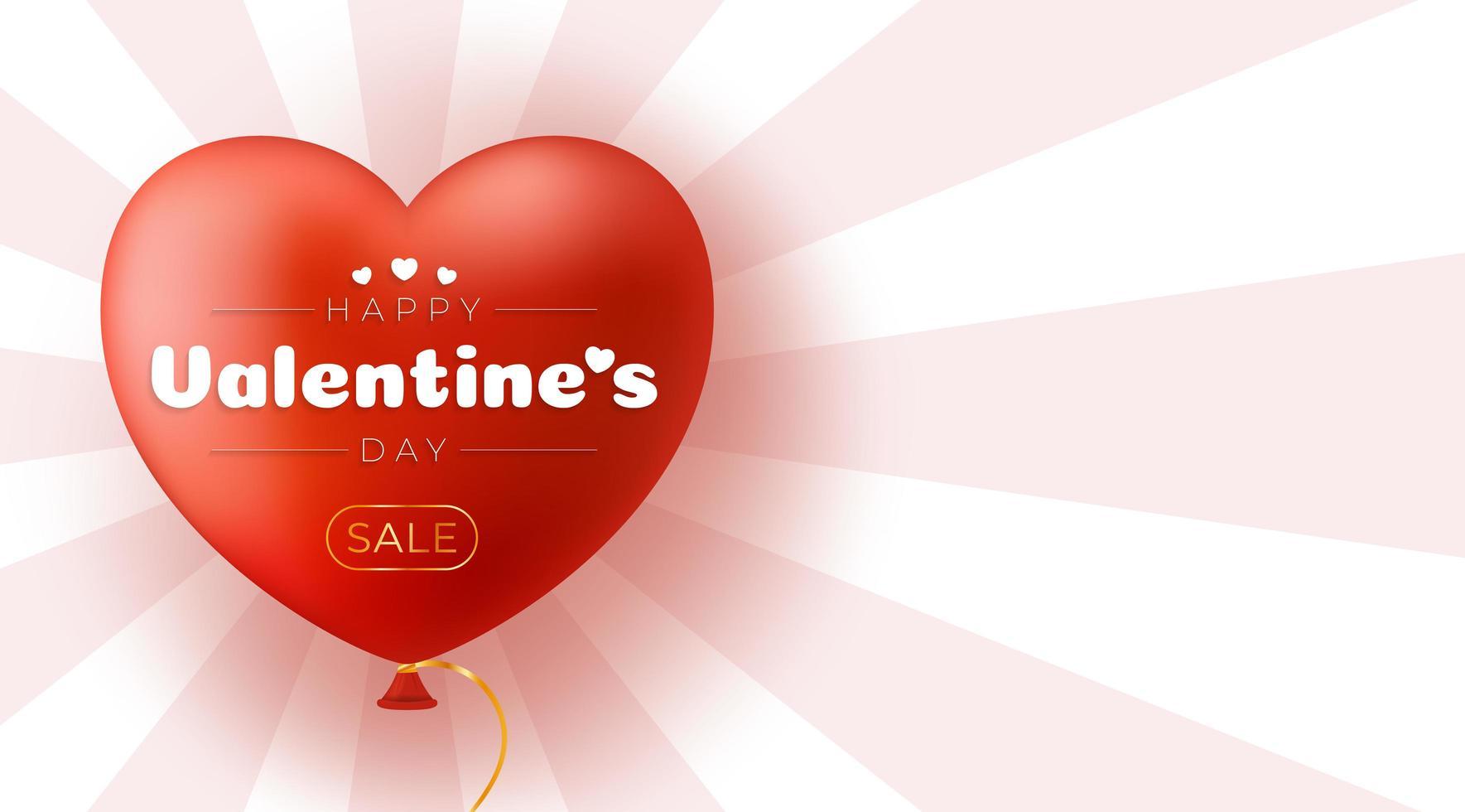fond de vente saint valentin avec coeur ballon vecteur