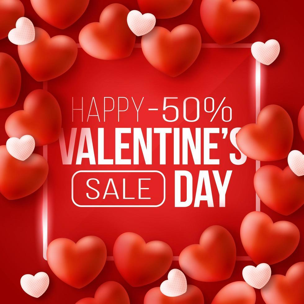 bannière web promotionnelle pour la vente de la saint-valentin vecteur