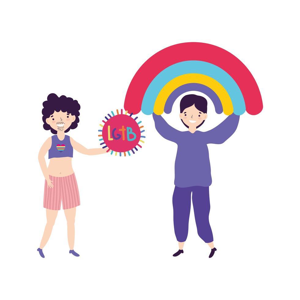 communauté lgbt parade de la fierté, hommes heureux avec activité de festival arc-en-ciel et étiquette vecteur