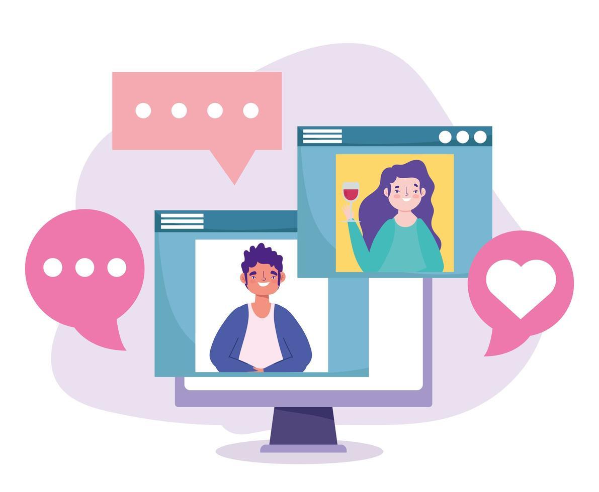 fête en ligne, anniversaire ou rencontre entre amis, femme avec du vin et homme dans le site Web parlant de célébration vecteur