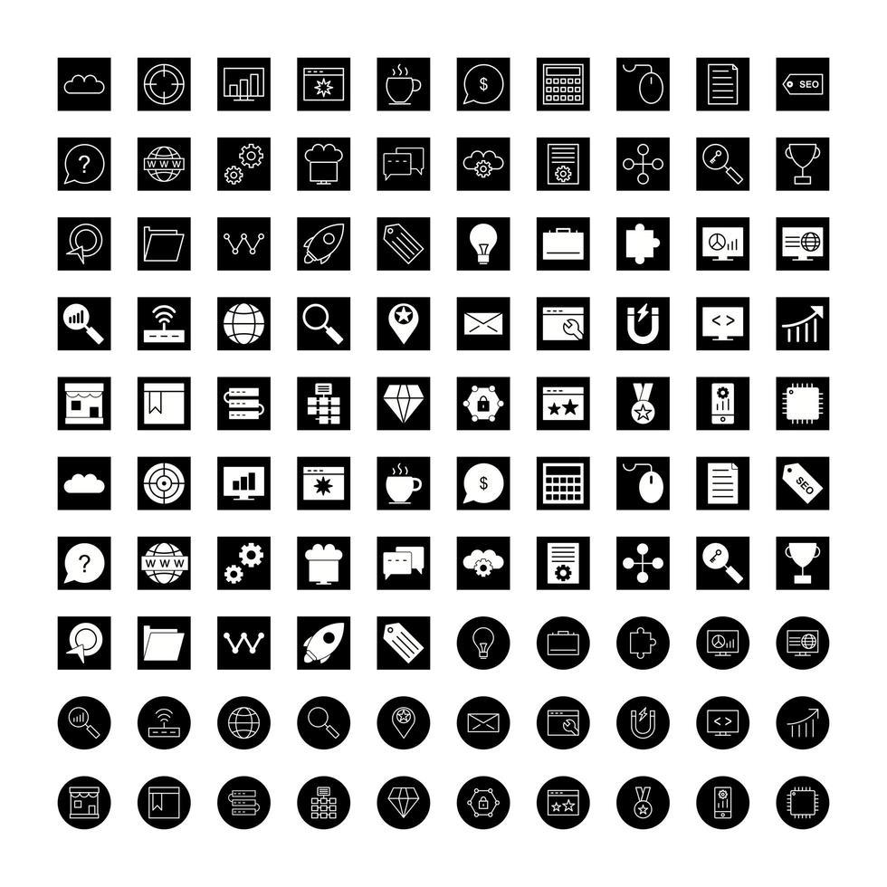ensemble d'icônes d'optimisation des moteurs de recherche vecteur