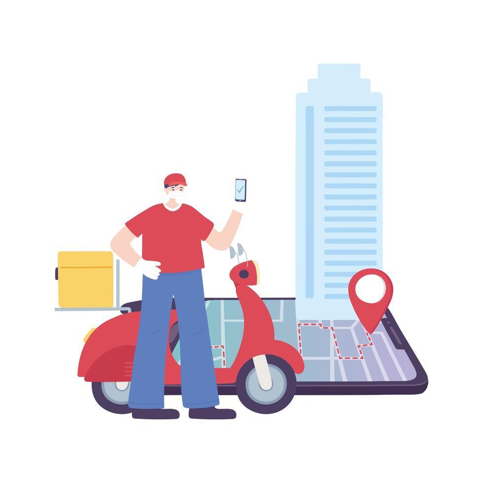 pandémie de coronavirus covid-19, service de livraison, livreur avec scooter pour smartphone sur la carte de navigation gps, porter un masque médical de protection vecteur