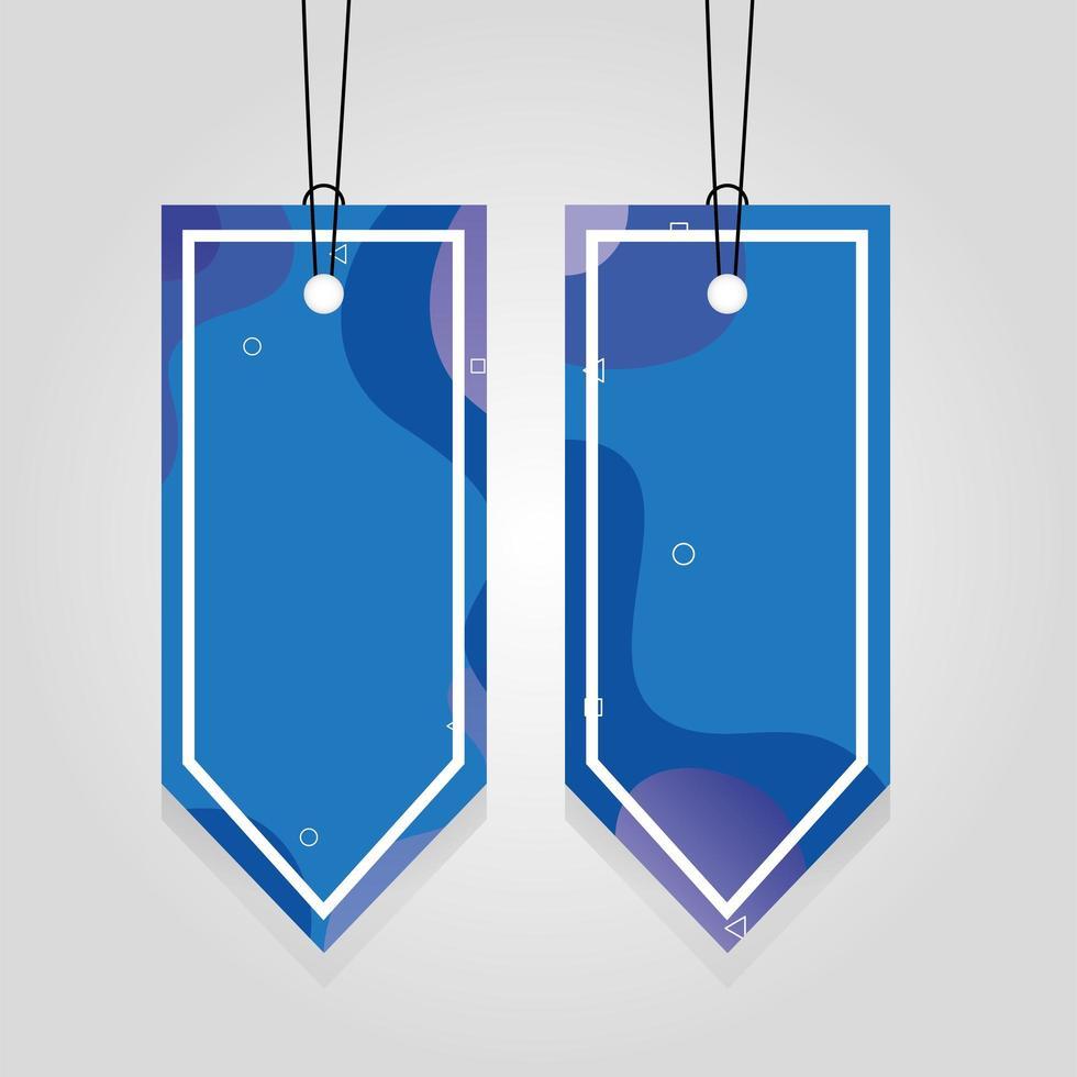 étiquettes commerciales bleues suspendues avec des couleurs vives vecteur